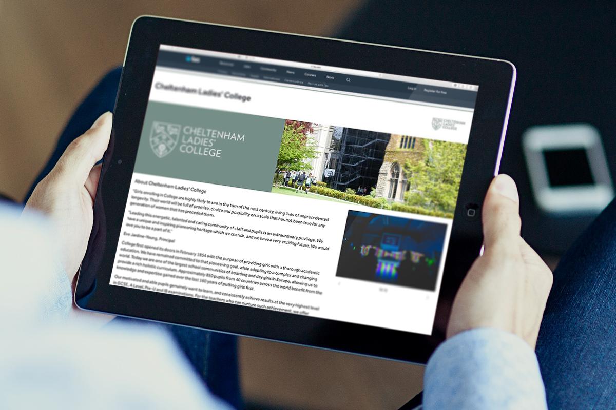 cheltenham ladies college website on tablet