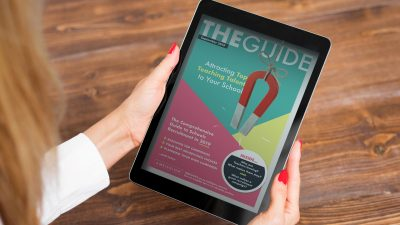 ambleglow education marketing resource guide on tablet