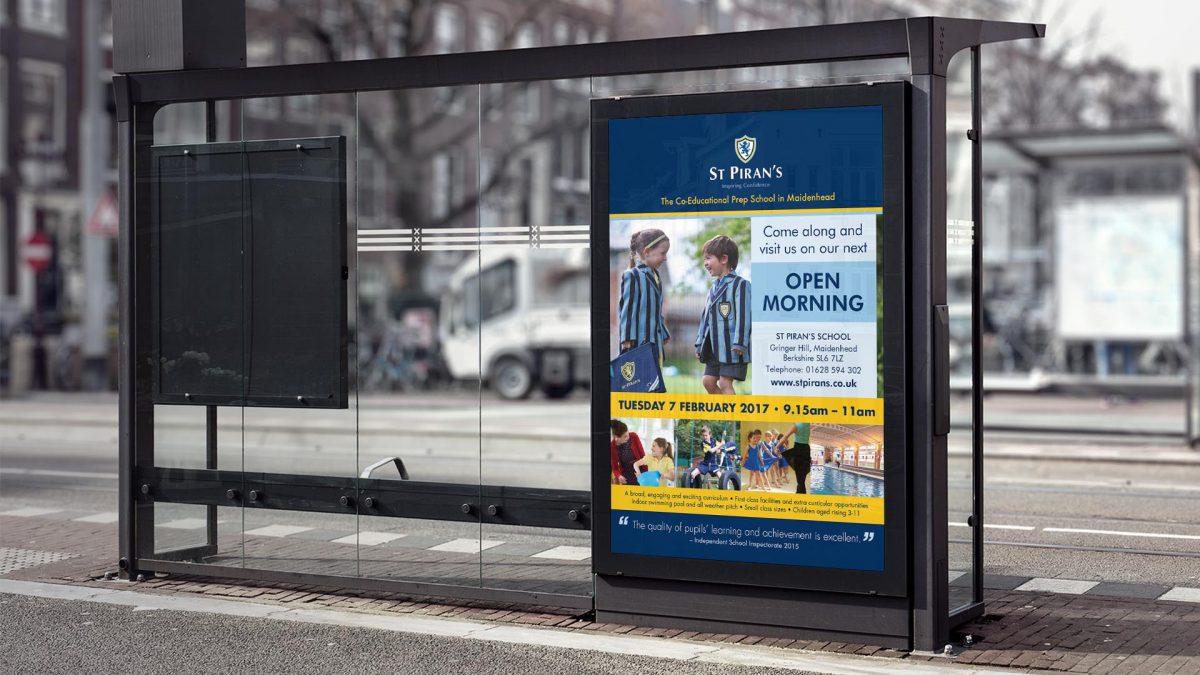 st pirans school bus stop advertisement