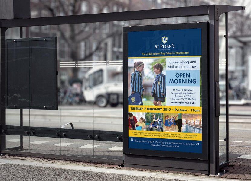 st pirans school bus stop advertisement