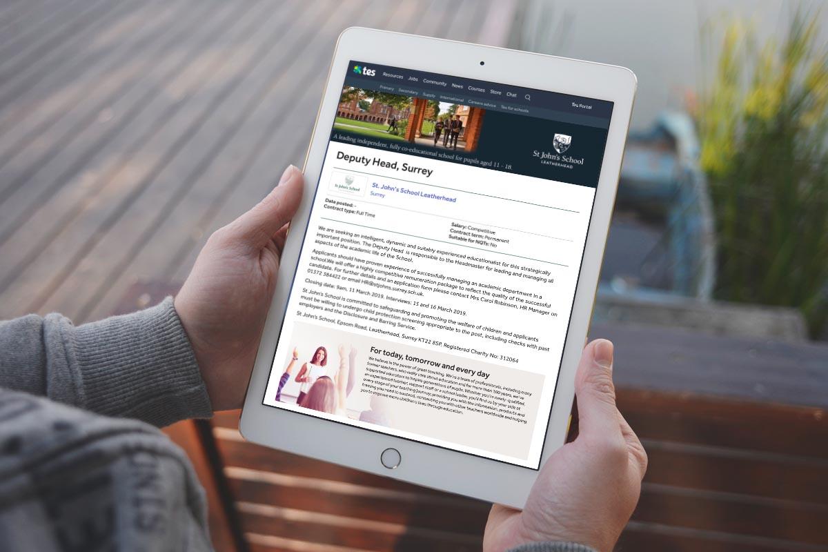 St John's School marketing website on tablet