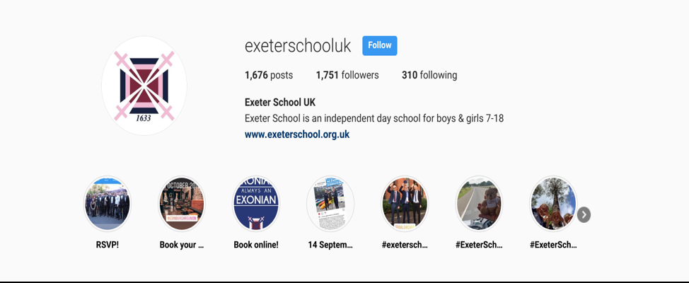 exeter school instagram